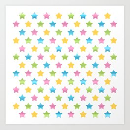 Colorful striped stars Art Print