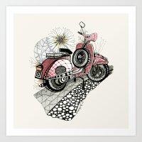 vespa Art Prints featuring Vespa by Mariqui Romero
