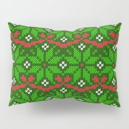 Festive knitted snowflake motif pattern in green & red Pillow Sham