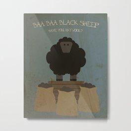 Baa Baa Black Sheep. Children's Nursery Rhyme Inspired Artwork. Metal Print
