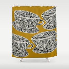 Morning Cuppa! - tea coffee lover zentangle Shower Curtain