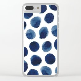 Watercolor polka dots Clear iPhone Case