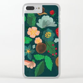 Strawberry salad garden party with the snails in blue Clear iPhone Case