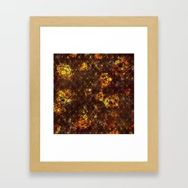 Diamond Rose Pattern - Maroon and Gold Framed Art Print