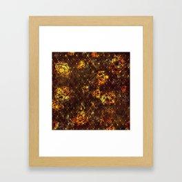 Diamond Rose Pattern - Maroon and Gold Framed Art Print