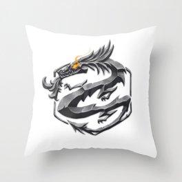 Iron Dragon Throw Pillow