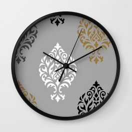 Orna Damask Art I BW Grays Gold Wall Clock