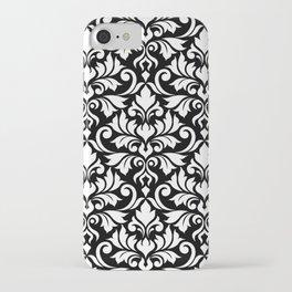 Flourish Damask Big Ptn White on Black iPhone Case