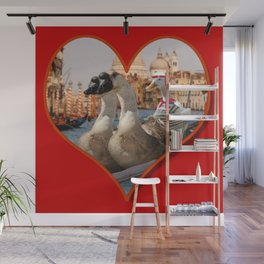 Geese on a Romantic Gondola Ride Wall Mural