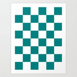 Large Checkered - White and Dark Cyan Art Print