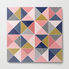 Blush & navy triangles Metal Print