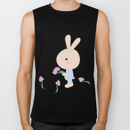 Kids cute cartoon bunny Biker Tank
