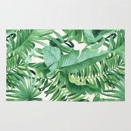 Green tropical leaves III Rug