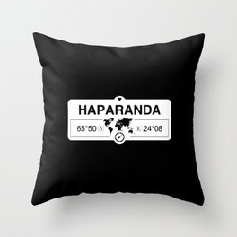 Haparanda Norrbotten with World Map GPS Coordinates Throw Pillow