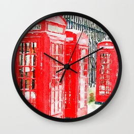 Colorful Red Telephone Booths in London Watercolor Painting Print Wall Clock