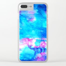 Abstract blue pink ink painting Clear iPhone Case