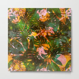 Motuu Tropical Yellow & Green Metal Print