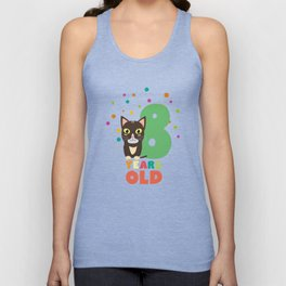 Eight Years 8th Birthday Party Cat T-Shirt D14m7 Unisex Tank Top