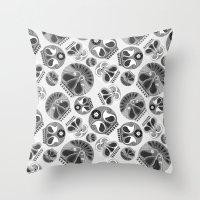 sugar skulls Throw Pillows featuring SUGAR SKULLS by Kiley Victoria