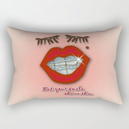 Shiny Braces, Red Lips, Mole, and Thick Eyelashes Rectangular Pillow