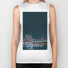 New York City Bridge at Night (Color) Biker Tank