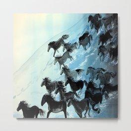 Horses In Surf Metal Print