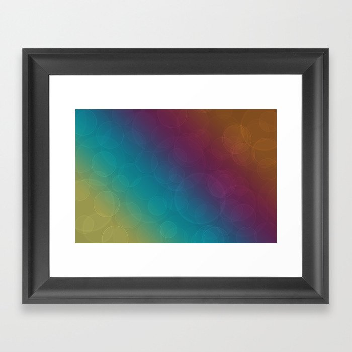 Bohek Bubbles on Rainbow of Color - Ombre multi Colored Spheres Framed Art Print