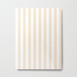 Narrow Vertical Stripes - White and Champagne Orange Metal Print