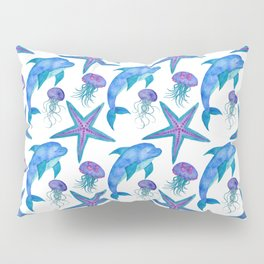 Hand Drawn Dolphins Pattern Pillow Sham