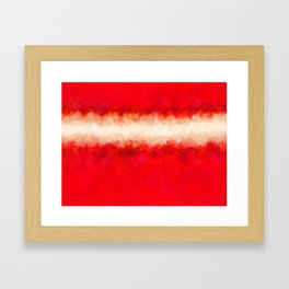 Bright Ruby Red & Cream Abstract Framed Art Print
