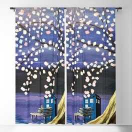 Tardis Art Alone And The Tree Blossom Blackout Curtain