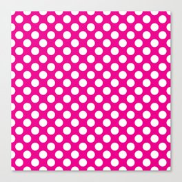 White Polka Dots with Pink Background Canvas Print