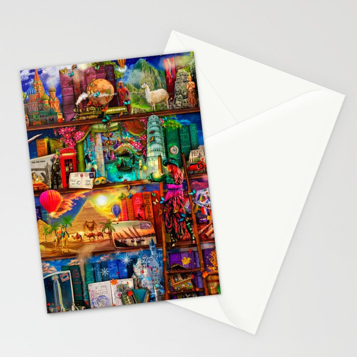 World Traveler Book Shelf Stationery Cards
