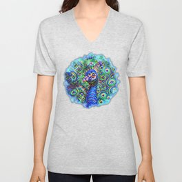 Brilliant Jeweled Peacock Unisex V-Neck