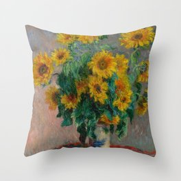 Bouquet of Sunflowers by Claude Monet Throw Pillow