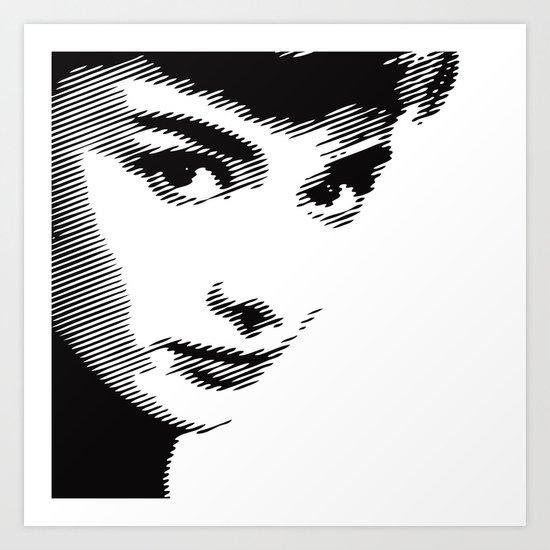 Audrey Hepburn Close Up Art Print