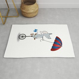 Mouse on unicycle Rug