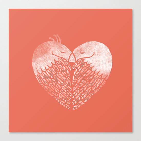 Love birds sitting on a tree Canvas Print