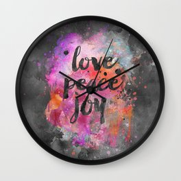 Love, Peace and Joy Typography Wall Clock