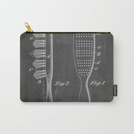 Hair Brush Patent - Salon Art - Black Chalkboard Carry-All Pouch