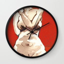 Volouptuous Nude on Red and Orange Wall Clock