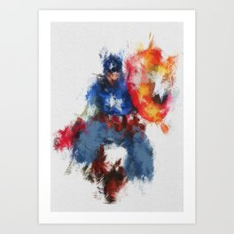 Captain of America Abstract Painting Art Print