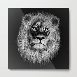 Lion Face Sketch Metal Print