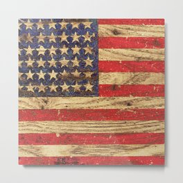 Vintage Patriotic American Flag on Old Wood Grain Metal Print