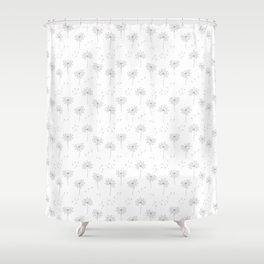 Dandelions in Grey Shower Curtain