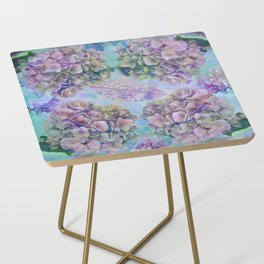 Watercolor hydrangeas and leaves Side Table