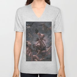 WITCHES GOING TO THEIR SABBATH / THE DEPARTURE OF THE WITCHES - LUIS RICARDO FALERO Unisex V-Neck