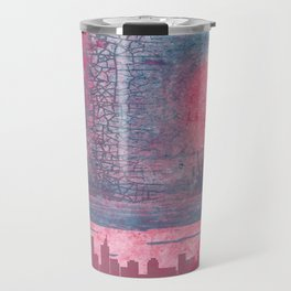 Town and the storm, pink, gray, blue Travel Mug