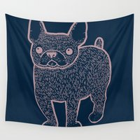 french bulldog Wall Tapestries featuring French Bulldog by Syrupea