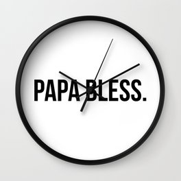 Papa Bless - version 1 - black Wall Clock